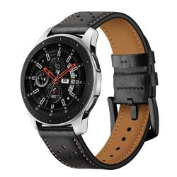 Pasek TECH-PROTECT Leather Samsung Galaxy Watch 46mm Black Czarny